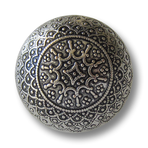 www.knopfparadies.de - 1546as - Nostalgische glänzend altsilberne halbkugelförmige Metallknöpfe mit filigranen Ornament Muster