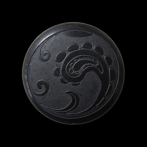 Schwarzer Kunststoff Ösen Knopf mit Paisley Muster