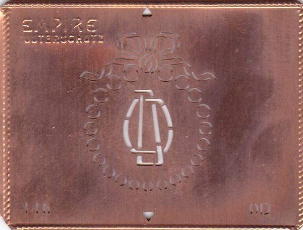 Stilvolle Jugendstil Kupfer Schablone mit Kranz und Schleife - Rarität - OD