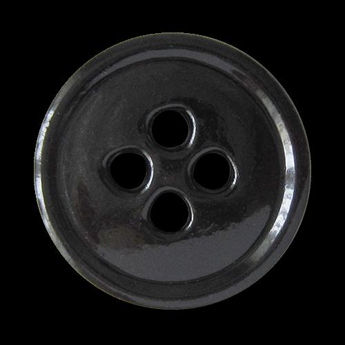 www.Knopfparadies.de - 4401sc - Leichte schwarze Vierloch Metallblechknöpfe in klassischer Form