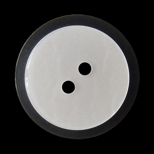 www.Knopfparadies.de - 4413ps - Elegante schwarz perlmutt-weiße Zweilochknöpfe aus Kunststoff