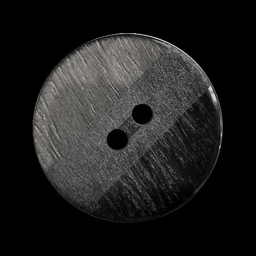 www.knopfparadies.de - 6052gr - Graue-schwarze Kunststoffknöpfe - günstigere B-Ware
