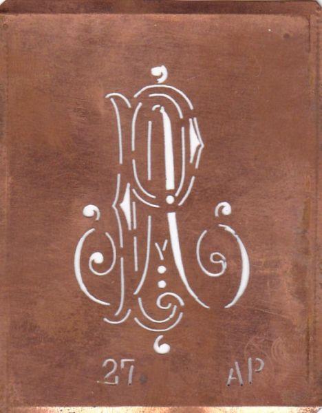 Schablone aus Kupferblech, Ausstuer-Schablone zum Sticken AP