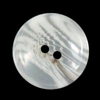 Weiß transparent melierter Zweiloch Kunststoff Knopf