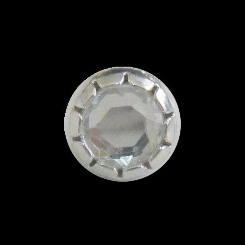 www.Knopfparadies.de - 3152si - Kleine Metallknöpfe in Silber mit Schmuckstein