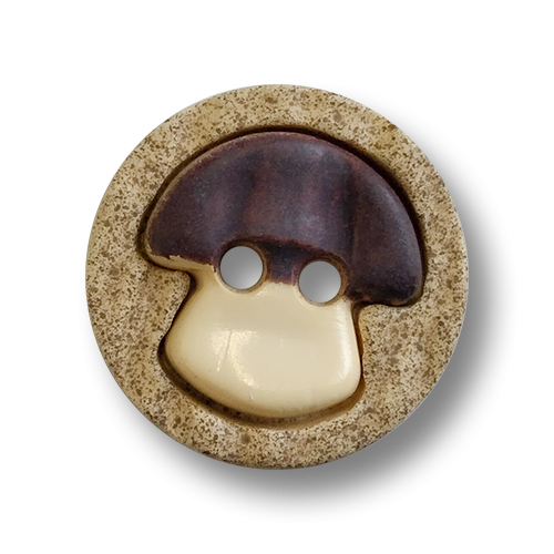 www.knopfparadies.de - 6190br - Hübsche kleine Trachtenknöpfe mit Motiv: Pilz