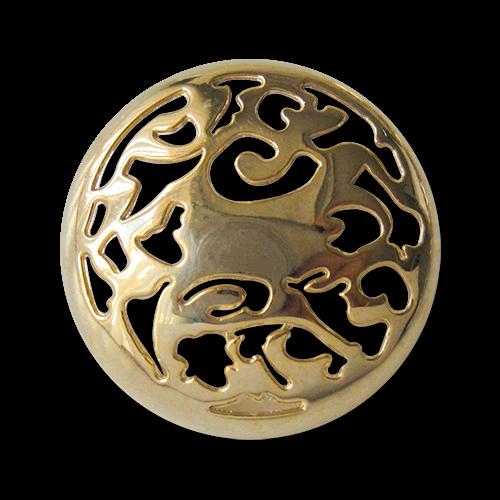 www.Knopfparadies.de - 3078go - Phantasievoll gemusterte goldene Metallknöpfe mit Durchbruch