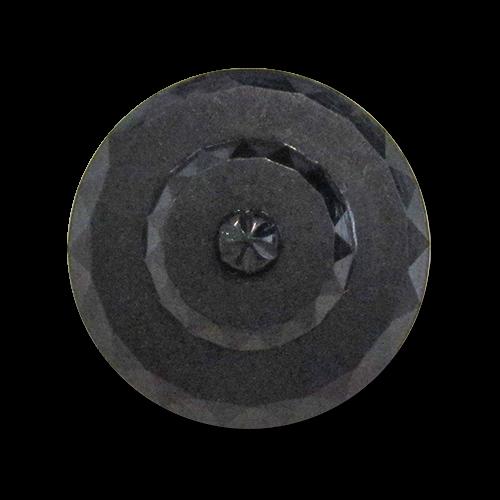 www.Knopfparadies.de - 5976sc - Traumhafte schwarze Ösenknöpfe aus Kunststoff wie alte Glasknöpfe