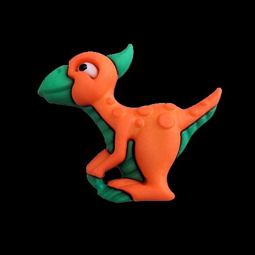 www.knopfparadies.de - 6178pt - Kinderknöpfe: kleine Dinos / Saurolophus
