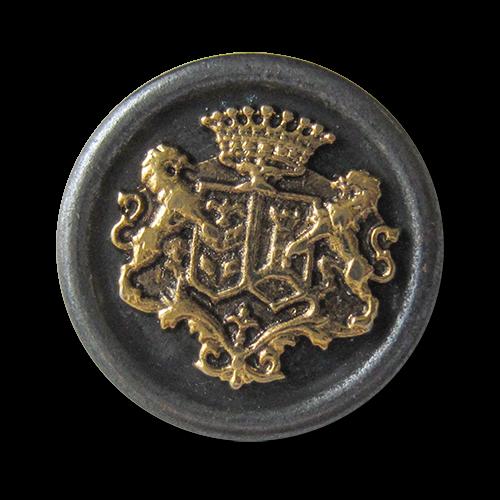 www.knopfparadies.de - 3135ei -  Blazerknöpfe aus Metall in matt eisen und glänzend gold