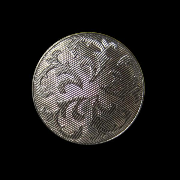 Bildschöner Glas Knopf in Metallic Silber Optik