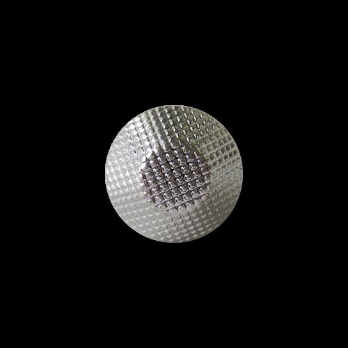 Kleiner origineller silberfb. Kunststoff Knopf in abgeflachter Kegel Form