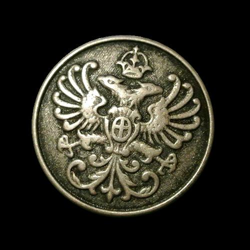 Altsilberfarbener Metallknopf mit doppelköpfigem Adler