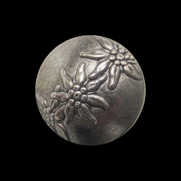 Kleiner gewölbter Metall Ösen Knopf mit 3 Edelweiß