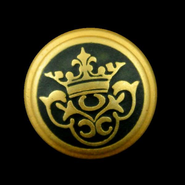 Prunkvoll schwarz goldfarbener Metall Knopf mit Krone