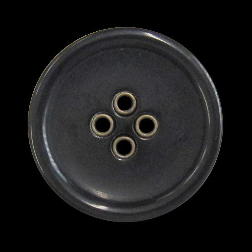 www.knopfparadies.de - 5981sm - Schwarze Kunststoffknöpfe mit messingfarbenen Knopflöchern