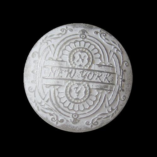 Kunststoff Ösen Knopf in Weiß Silberfarben mit Ornament Muster