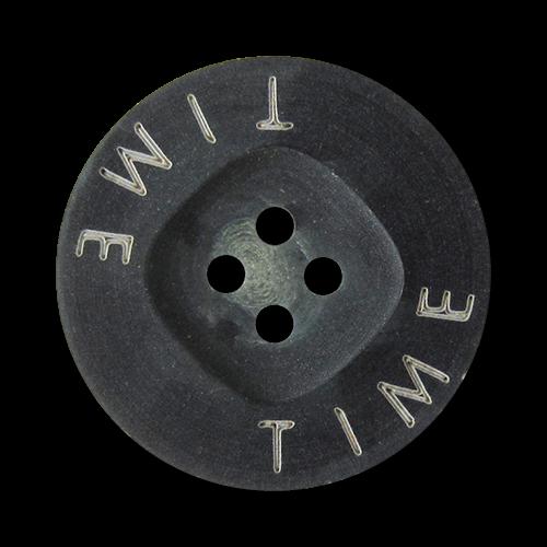 """www.Knopfparadies.de - 2661bl - Moderne blaue Kunststoffknöpfe mit weißem Schriftzug """"TIME"""""""
