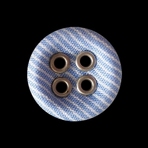 www.Knopfparadies.de - 5949bs - Nostalgische Stoffknöpfe mit blau weißen Streifen