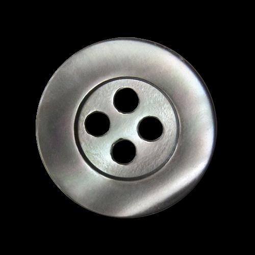 www.knopfparadies.de - pm998gr - Zeitlose grau schimmernde Perlmuttknöpfe mit vier Löchern