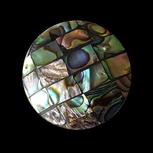 www.Knopfparadies.de - 5860bu - Wundervolle bunt schillernde Perlmuttknöpfe aus Abalone-Muschel