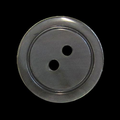www.knopfparadies.de - pm047gr - Grau schillernde Perlmuttknöpfe mit Rand und zwei Löchern