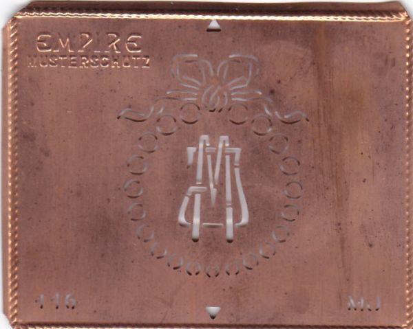 Stilvolle Jugendstil Kupfer Schablone mit Kranz und Schleife - Rarität - MJ