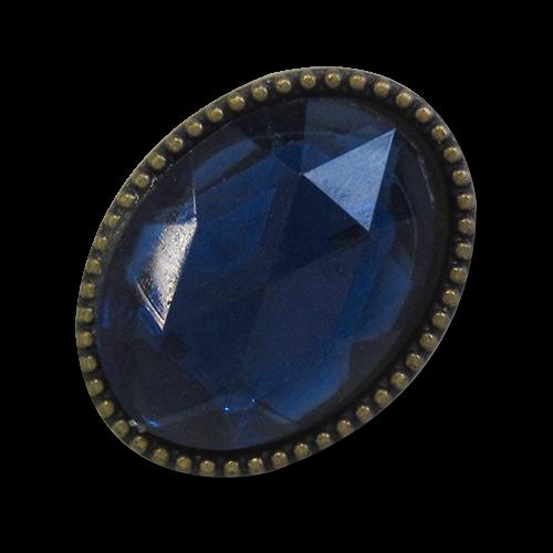 www.knopfparardies.de - 1697db - Ovale Metallknöpfe mit dunkelblauem Glitzerstein