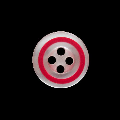 www.knopfparadies.de - 5931ro - Weiße Blusenknöpfe mit rotem Rand
