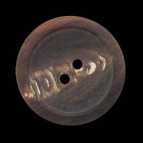 www.knopfparadies.de - 5982mm - Matt braune Zweilochknöpfe aus echtem Büffelhorn
