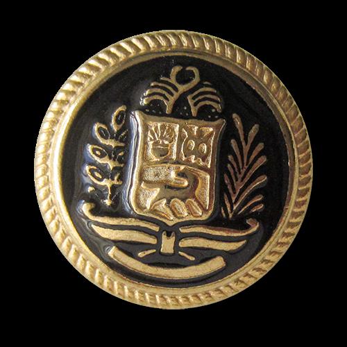 www.Knopfparadies.de - 5737sg - Schwarz goldene Metallknöpfe mit edlem Wappen