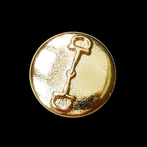 Goldfb. Metallknopf mit Pferde Trense