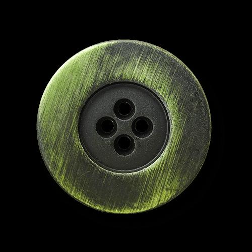 Eisenfarb. Vierloch Metall Knopf mit grünem Schimmer