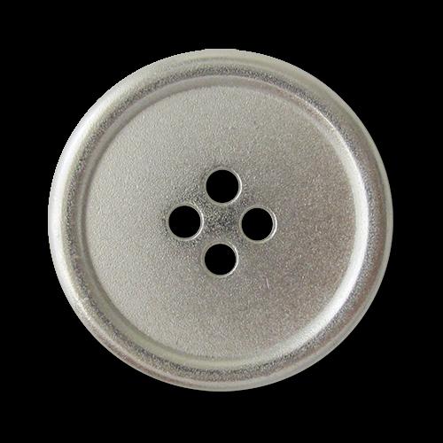 www.Knopfparadies.de - 3222si - Silberne Vierlochknöpfe aus Metall mit kleinen Mängeln