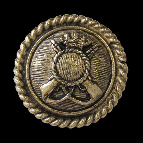 Großer massiver altgoldfb. Wappen Metall Ösen Knopf
