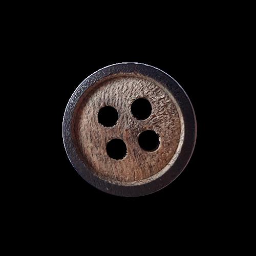 Hemdenknöpfe aus echtem Holz - 4-Loch - kleiner dunkler Rand
