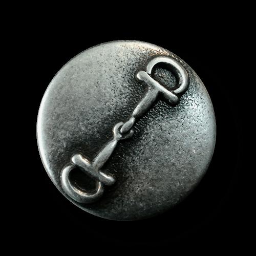 Altsilberfb. Metallknopf mit Pferde Trense