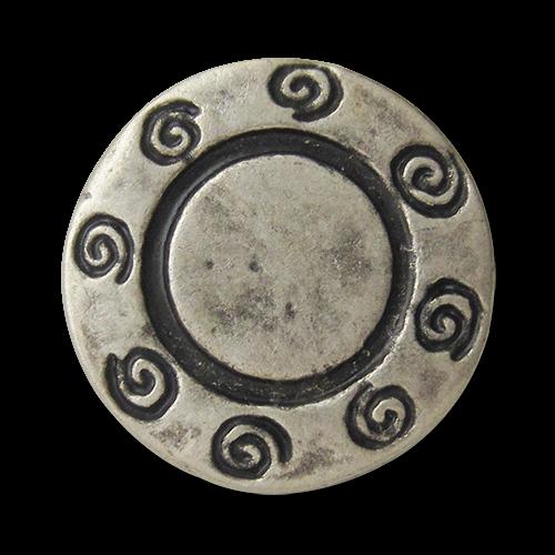 www.Knopfparadies.de - 0433as - Älter wirkende silberne Metallknöpfe mit Spiral Muster