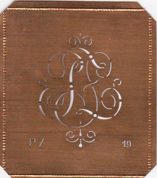 www.knopfparadies.de PZ-sch-019 - Kupferschablone, Monogrammschablone Stickschabone PZ