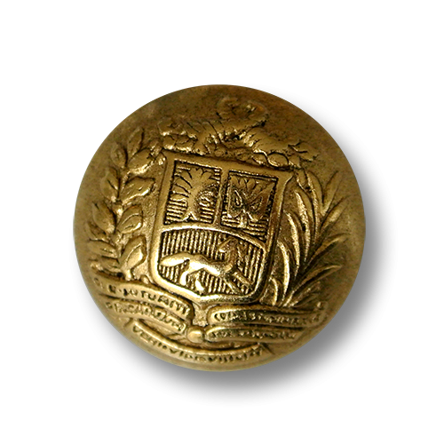 Feudaler altgoldfarbener Metall Knopf mit Wappen