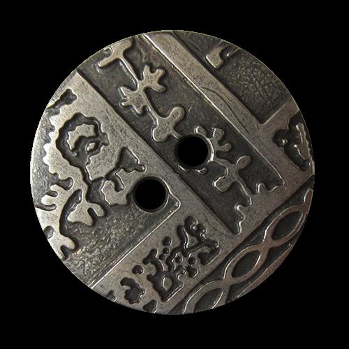 www.Knopfparadies.de - 5172as - Silberfarbene Zweiloch Kunststoffknöpfe mit Ornament Muster