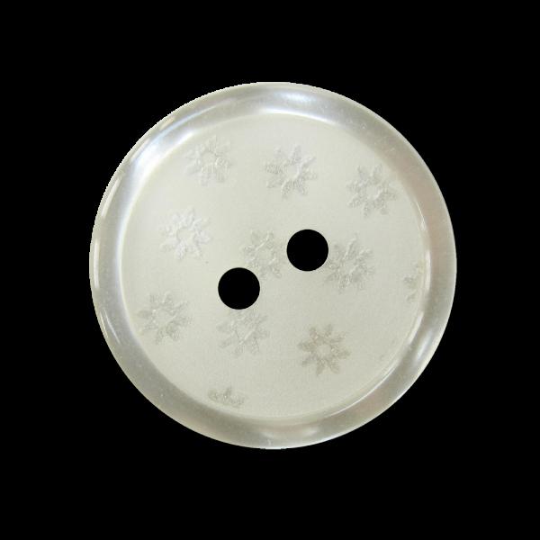 Naturweißer Knopf in Perlmutt Optik mit kleinen Blüten