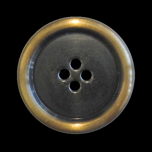 www.Knopfparadies.de - 5962cm - Leichte chrom messingfarbene Metallblechknöpfe in klassischer Form