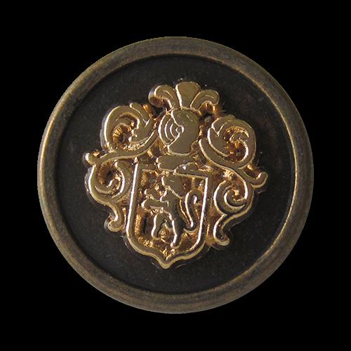 www.Knopfparadies.de - 1523mg - Prächtige Wappenknöpfe aus Metall in Messing & Gold