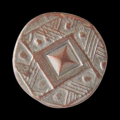 www.Knopfparadies.de - 1571ks - Versilbert kupferfarbene Metallknöpfe imit Ethno Muster