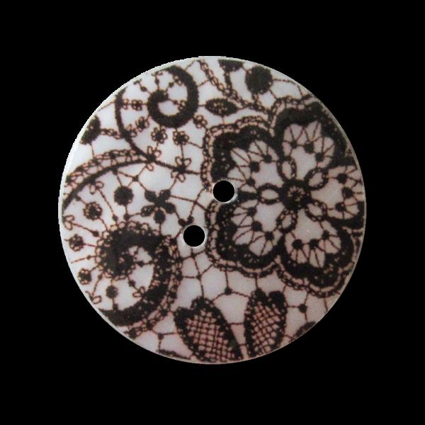 Großer Knopf in Spitzen Optik mit Perlmutt Intarsien