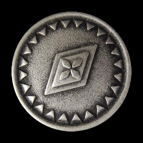 www.Knopfparadies.de - 5079as - Silberne Metallknöpfe mit Blume, Raute und Dreieck Muster