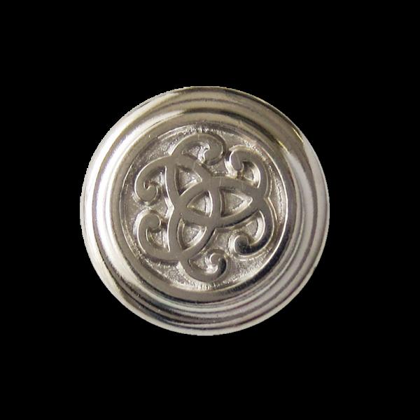 Elegnter silberfarbener Metall Ösen Knopf mit Ornament