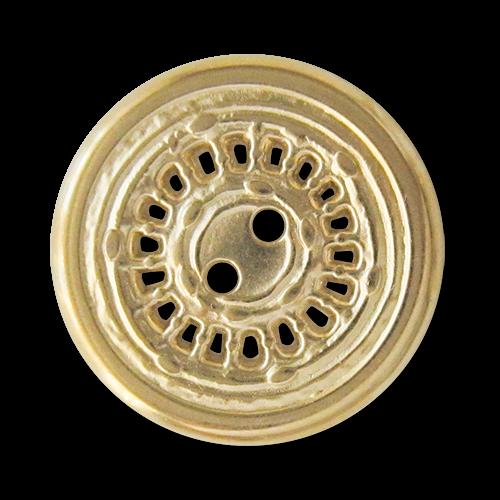 www.Knopfparadies.de - 5959go - Originelle Zweilochknöpfe aus Metall in Gold mit Durchbruch