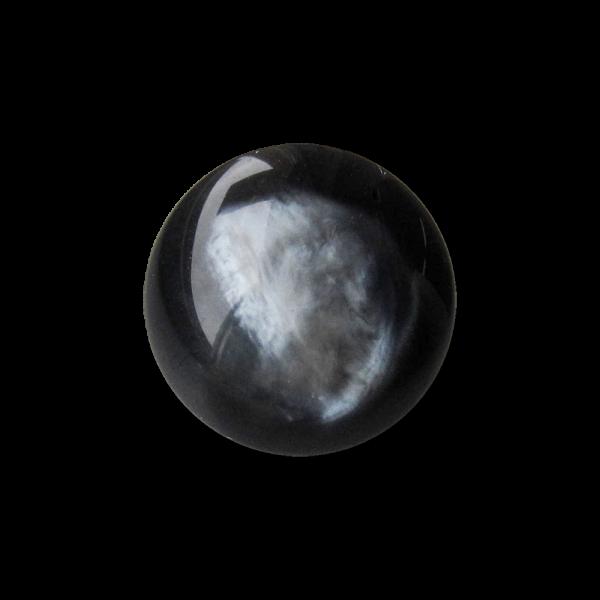 Kleiner edler Ösenknopf aus Kunststoff in schwarz grauer Perlmutt Optik